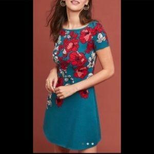 Anthropologie Floral Knit Short Sleeve Aline Dress